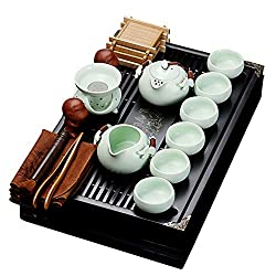 fanquare Chinese Ceramic Kung Fu Tea Set With Tea Tray And Small Tea Tools,Porcelain Tea Service,White