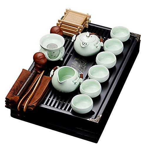 fanquare Chinesisches Keramik Kung Fu Tee Set mit Teetablett und Kleine Teewerkzeuge, Porzellan Tee service, Hellgrün