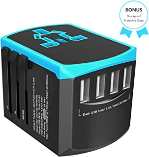 Universal Travel Adapter, All-in-one International Power Plugs High Speed 2.4A 4 USB Wall Charging Ports, Covers Asia, US,...