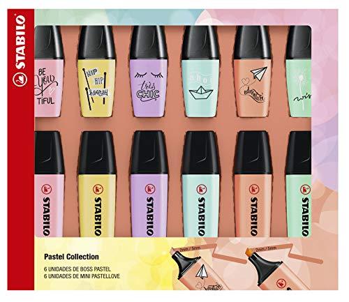 Kit Marca Texto, Stabilo, BOSS Pastel + Mini Pastellove, 55.3401, 12 Unidades