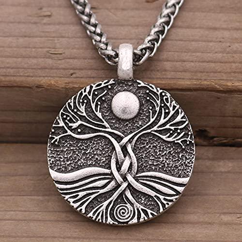 Collares de hombre Collar con colgante de árbol de la vida amuleto vikingo retro para hombres adornos de talismán nórdico regalos de joyería Regalo para esposo padre novio regalo de cumpleaños