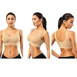 BESTENA Sports Bras for Women,2 Pack Seamless Comfortable Yoga Bra Plus Size withRemovable Pads(Black+Nude,XX-Large)