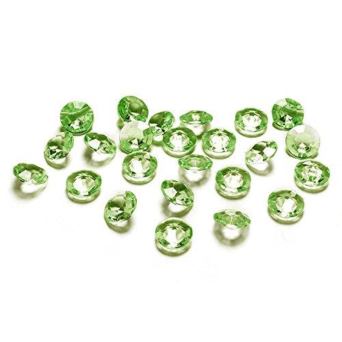 Lot de 100 pierres décoratives type diamant 1,2 cm/steru décoration mariages baptêmes communions décoratifs pour décoration de table 102 (vert clair)