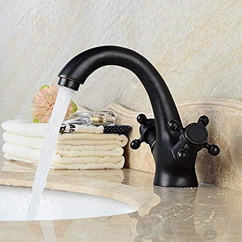 Faucet Cocina baño Grifo Grifo de Europa y América Negro Cobre Antiguo Completo Gabinete de baño Caliente de la Cuenca del Grifo del Lavabo Lavabo bajo mesada y fría del Grifo de un Solo Orificio