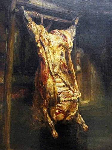 JH Lacrocon Rembrandt Van Rijn - Der Geschlachtete Ochse 1655 Leinwandbilder Reproduktionen Gerollte 45X60 cm - Stillleben Gemälde Gedruckt Wandkunst
