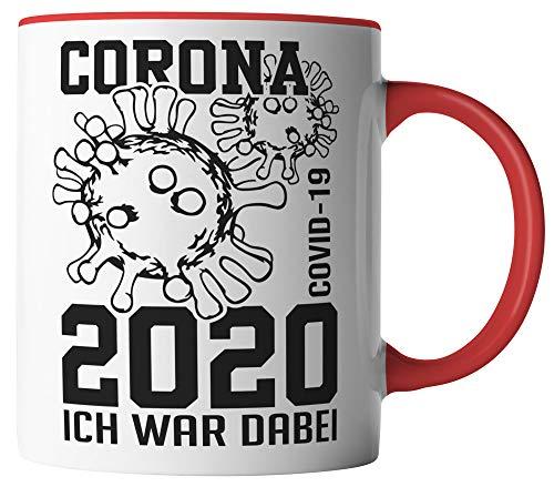 vanVerden Tasse - Corona-Virus 2020 Ich war dabei. COVID-19 - beidseitig Bedruckt - Geschenk Idee Kaffeetassen mit Spruch, Tassenfarbe:Weiß/Rot