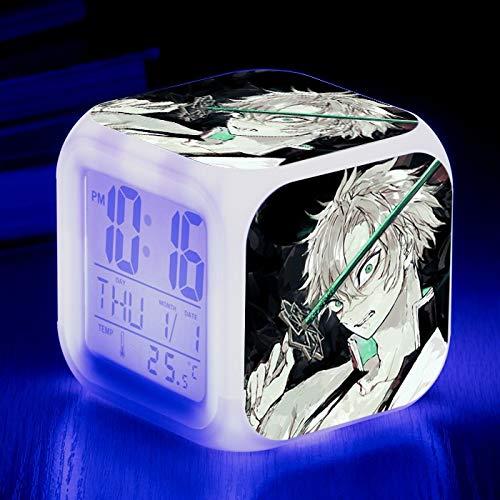 Totots Reloj despertador cuadrado ShinAzugawa Sanemi, Dibujos animados Luminoso despertador Demon Slayer, Anime Electronic Alarm Reloj, Color Colorido Creativo Calendario Reloj de alarma, Reloj desper