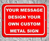 BA IMAGE Personalized Custom Red 001 Aluminum Metal Sign with Your Message (9x12 Red w/White, Horizontal)