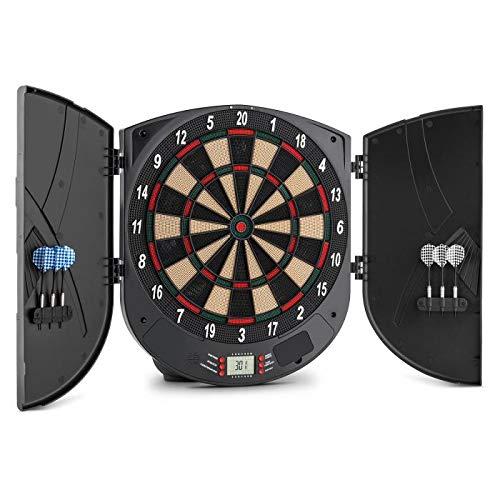 OneConcept Dartomat - Dartscheibe, elektronisches Dartboard, Dartautomat, 26 Spiele, 70 Spielvarianten, 6 x Softtip-Darts, integrierter Computer, einfache Bedienung, schwarz