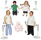 Unbekannt 5 TLG. Set - Familie mit Kinder & Baby - Puppe für Puppenstube Miniatur / Maßstab 1:12 -...