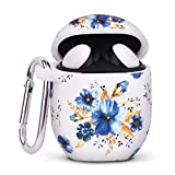 AIRSPO Silicone Case for Google Pixel Buds 2 Floral Print Protective Case Cover Compatible with Google Pixel Buds 2 Earbdus with Keychain (Blue Flower)