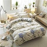SHJIA Moderne einfache Bettbezug-Set einfarbig Bettlaken Kissenbezug Polyester Bettwäsche-Sets Bettwäsche weichen Bettbezug weiß 200x200cm