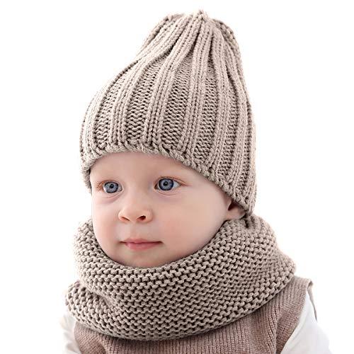 Haokaini baby gebreide muts en sjaal set, warme winter hoed halsdoek gebreid pure kleur kap set voor jongens meisjes