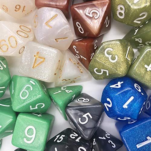 Fijnere 7 stks/set Dungeons & Dragons Creative RPG Game Dice Kleurrijke Multicolor Dice Mixed White D4 D6 D8 D10 D12 D20 DND Game Dice, J