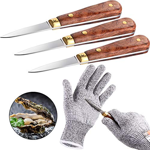 3 Pieces Oyster Shucking Knife Clam Oyster Knife Shucker Wooden Handle Oyster Knife with Cut Resistant Gloves Safe Cutting Gloves Level 5 Protection for Seafood Shellfish Opener Tools Women and Men