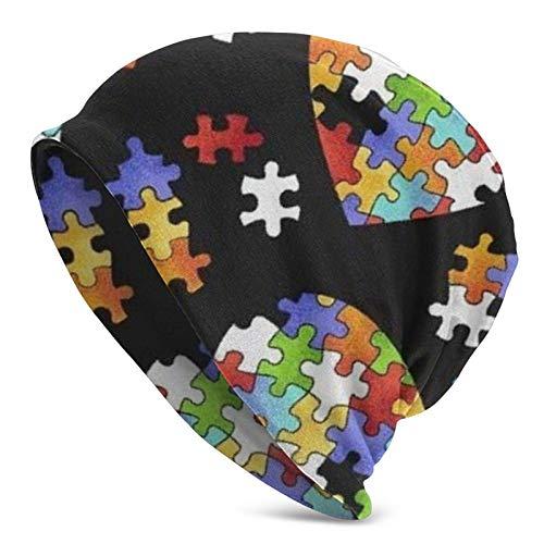 Colorful Autism Awareness Puzzle Pieces Heart Adult Knit Hats Fashion Casual Beanie Hat 3D Pattern Cap Unisex Knit Cap