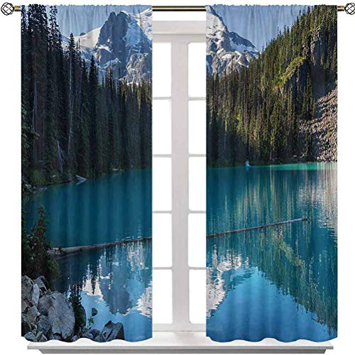 Aishare Store Window Curtain, Lake in Northern Canada with Slim Trees and Snowy Frozen Mountain Novelty, 2 Panels 48 Inches Long Rod Pocket Curtains Elegant for Living Room, Blue White Green
