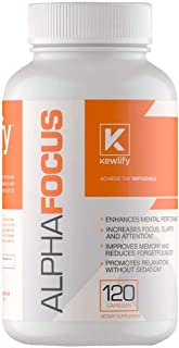 Kewlify Alpha Focus Brain Booster Supplement | Nootropics That Improve Memory, Focus, Mental Clarity, Energy And Overall Health | Non-habit Forming Formula | 120 Pills