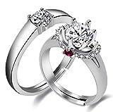 Uloveido Silver Color Cubic Zirconia Stone 1 par Juego de anillos de compromiso de boda para mujeres y hombres, chapado en oro blanco 2 piezas Anillo de promesa para novia y novio