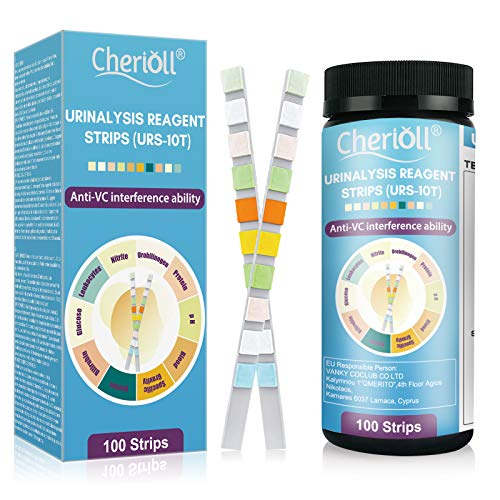 Gesundheitstest für 10 Indikatoren - Tests für Urintraktinfektionen,100 Urin Teststreifen mit Referenzfarbkarte, Urin Testreifen für Keton pH Glukose Protein und weitere Werte