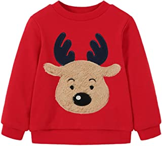 Sweatshirts for Boys Red Nosed Deer Hoodie Pullover Navy Toddler Christmas Clothes 6T