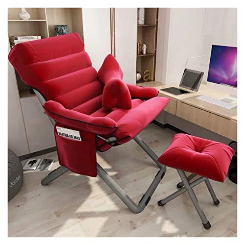 XXY Nueva Silla de computadora Respaldo de Ocio Oficina Silla de Escritorio College Dormitorio Lazy Sofa Cómodo Sofente Sedente Sillón Reclinable Silla (Color : Red)
