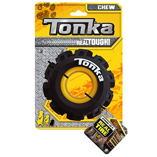 Tonka Seismic Tread Dog Toy with Interactive Feeder, Lightweight, Durable and Water Resistant, 4 Inches, for Medium/Large Breeds, Single Unit, Yellow/Black