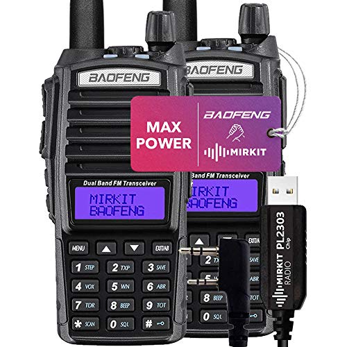 Pack 2Pc Mirkit Radio BAOFENG UV-82 Handheld MK5 Max Power with Programming Cable