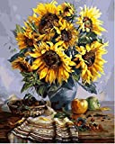 Joilkmgg Pintura por números Kits_Sunflower, Bonsai_de Pintar acrílica DIY para Adultos Niños Principiantes Fácil sobre Lienzo 40X50CM con Pinturas y Pinceles (sin Marco)