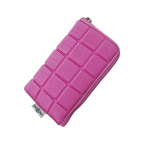 Handytasche mit Reißverschluss & Handschlaufe Größe S kompatibel mit Doro 6030 - Emporia Glam - Panasonic KX-329 - Handyhülle pink