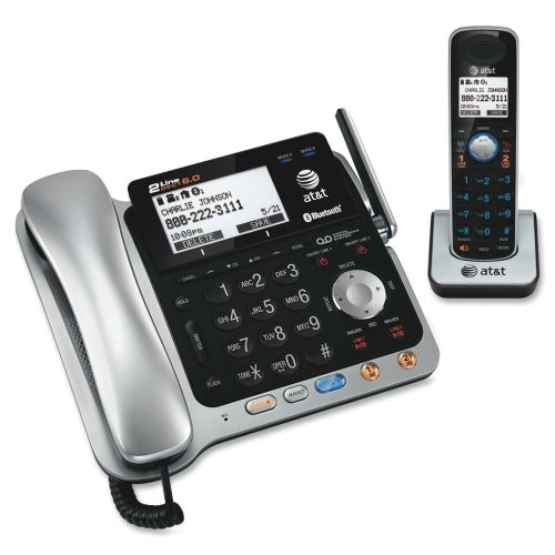 AT&T Bluetooth, DECT Cordless Phone - Black, Silver - Cordless - 2 x Phone Line - 1 x Handset - Speakerphone - Answering Machine - Caller ID - Backlight