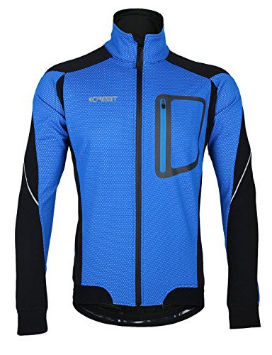 iCREAT Herren Jacke Air Jacket Winddichte wasserdichte Lauf- Fahrradjacke MTB Mountainbike Jacket Visible reflektierend, Fleece Warm Jacket für Herbst, Gr.M bis XXXL (EU 2XL, Himmelblau)