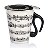 12.9 Oz Novelty Music Note Coffee Mug Ceramic Music Cup Mug with Lid Staves for Players Musicians,Black