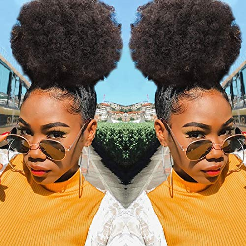 Synthetic Short Afro Ponytails for Black Hair YEBO African American Curly Pony Tail Hair Pieces(#4)