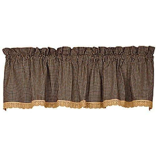Black Granny's Check Lace Trim Homespun Curtain Valance