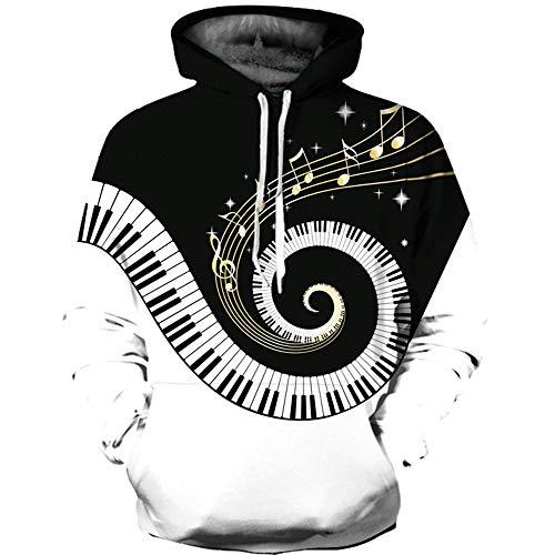XINGMU Nieuwe Hoodie 3D Roterende Piano Paar Stijl 3D Printing Lange Mouw Casual Sweatshirt Baseball Uniform