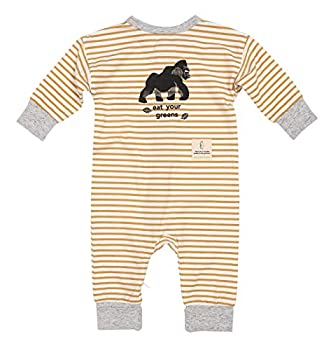 Me O My Earth-Friendly Gorilla Coverall Organic Cotton Footless Zip Baby Romper  Eat Your Greens Stripe 9-12 Months