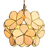 Bieye L10748 Flower Petal Tiffany Style Stained Glass Ceiling Pendant Light with 8-inch Wide Lampshade (Cream)