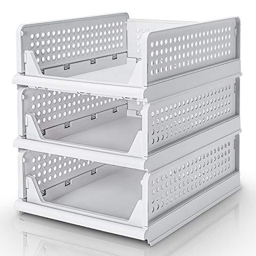 YORBAY Cajones para Armario Ropa apilables de Plástico para Armario, Cesta para estanterías, Dormitorio y Cocina Almario Dormitorio (M: 42.5 * 33.3 * 14 cm x 3)