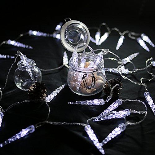 HG® 10M 40 LED Eiszapfen Eisregen Lichternetz Lichterkette Kaltweiß 31V für Weihnachtszeit Party Hochzeit Aussen