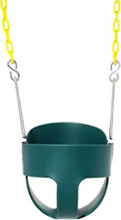 Wiplay Full Bucket Toddler Swing High Back Green Swing Seat with Coated Chains for Garden or Backyard Tree Kids Safe Hanging Swing Seat Chair