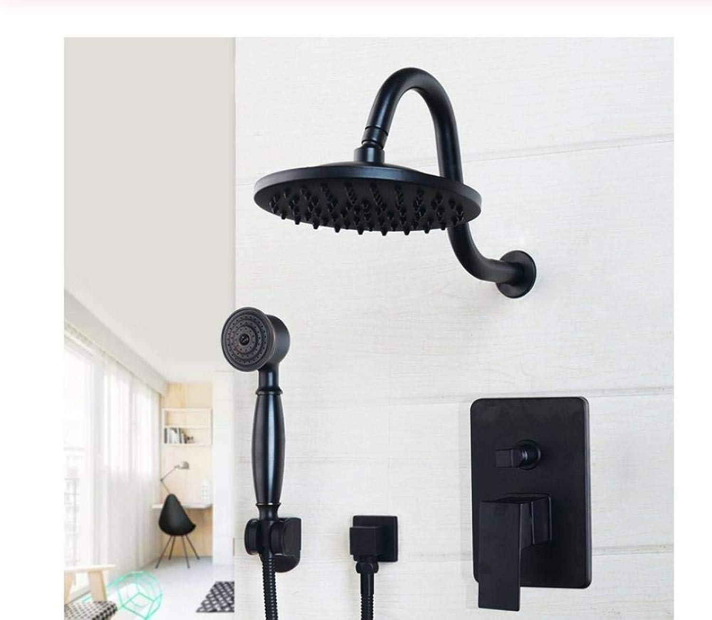 Wasserhahn Schwarze runde Kopfbrause setzt an der Wand befestigtes Badezimmer-Niederschlag-Duschhahn-Stze l rieb Bronzekopf u. Handbrause