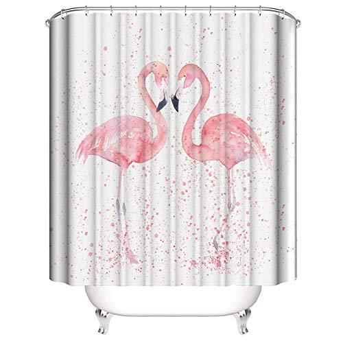 SUGOO Duschvorhang 3D Paar Flamingo dekorative Duschvorhang wasserdicht und schimmelsicher Polyester% Haushalt Erwachsene und Kinder 180 * 200cm