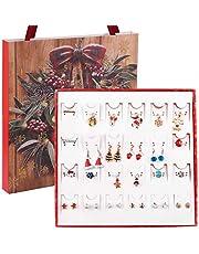 WLYX Monili di Natale Ornamenti Set Regalo di Conto alla rovescia Calendario dell'Avvento Collana dell'orecchino cieco Scatola Regalo Portatile Tote Box Set