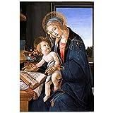 Legendarte Sandro Botticelli Muttergottes lehrt das Jesuskind Kunstdruck auf Leinwand, cm. 60x90