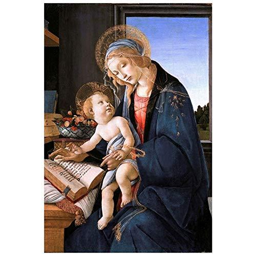 LegendArte Sandro Botticelli Madonna del Libro Stampa su Tela, cm. 60x90 - Quadro su Tela, Decorazione Parete