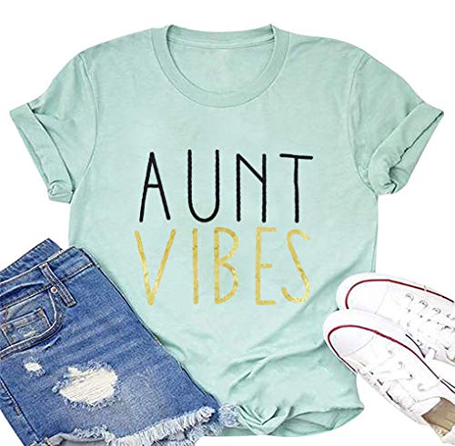 JINTING Aunt Vibes Shirt for Women Short Sleeve Letter Printed Auntie Tee Shirts Tops (S, Sky-Blue)