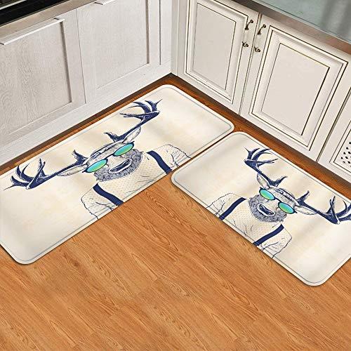 Juego de alfombrillas de cocina de 2 piezas,Ilustracin de cuernos de ciervo disfrazado d, Alfombra antideslizante con respaldo para alfombra de cocina, lavable y duradera, alfombra de corredor