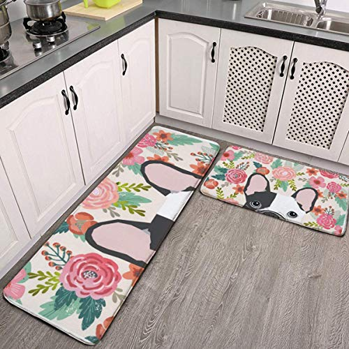 2 Pcs Kitchen Rug Set, French Bulldog Cute Floral Non-Slip Kitchen Mats and Rugs Soft Flannel Non-Slip Area Runner Rugs Washable Durable Doormat Carpet