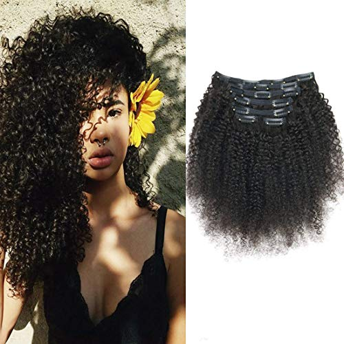 African American Afro Kinky Curly Clip in Hair Extensions Human Hair Double Weft Top Grade 7A...
